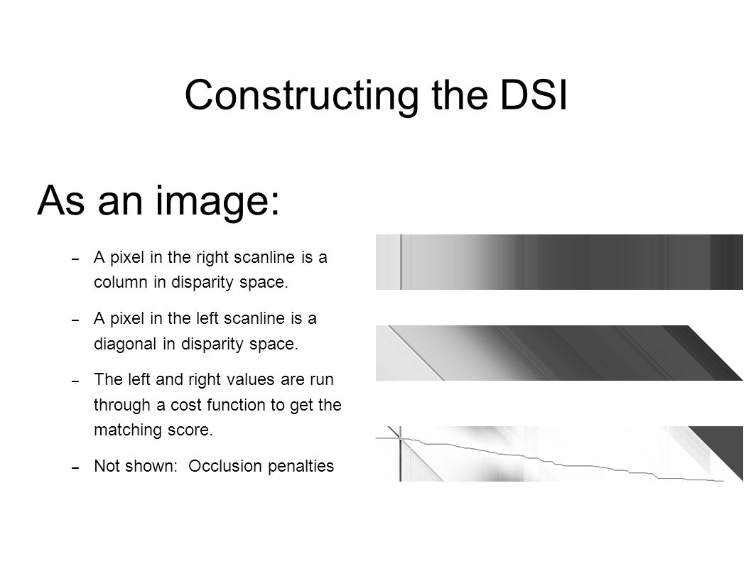 Constructing the DSI As an image: – A pixel in the right scanline is a column in disparity space. – A pixel in the left scanline is a diagonal in disp