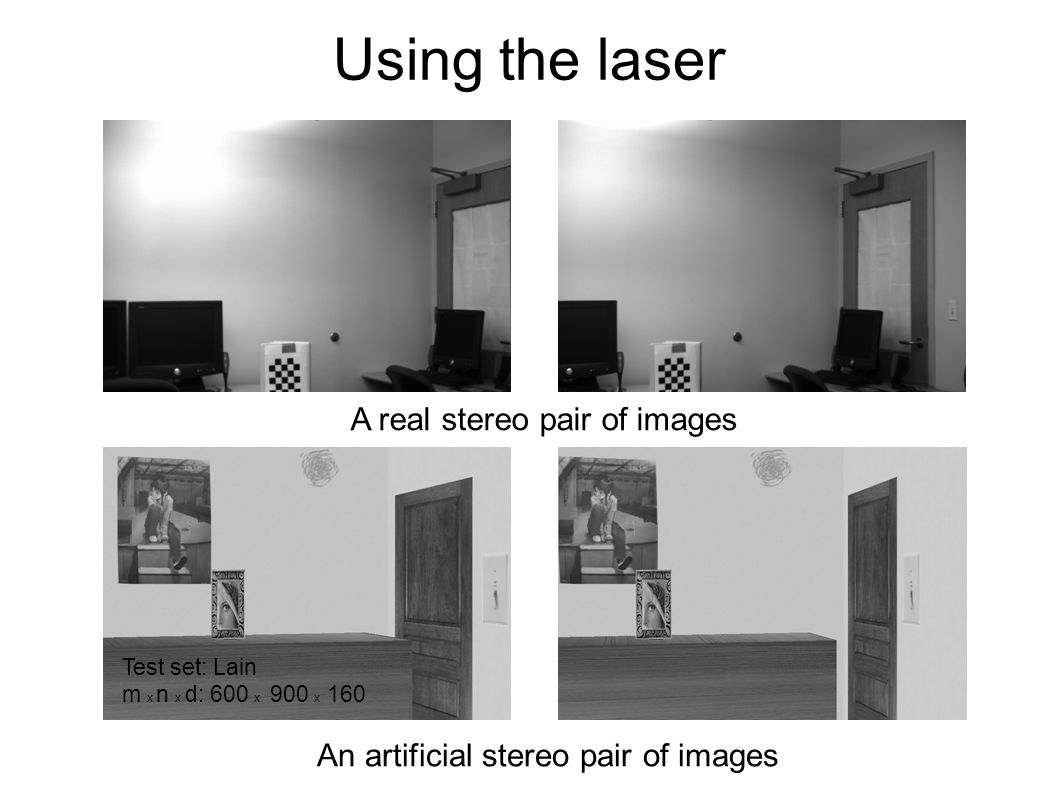 Using the laser A real stereo pair of images An artificial stereo pair of images Test set: Lain m x n x d: 600 x 900 x 160