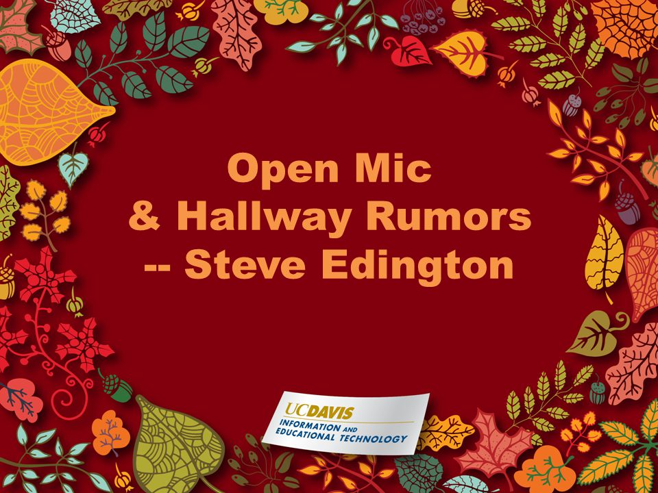 Open Mic & Hallway Rumors -- Steve Edington