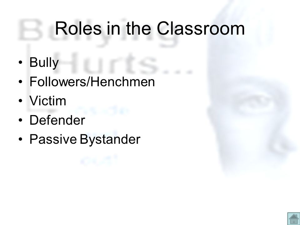 Roles in the Classroom Bully Followers/Henchmen Victim Defender Passive Bystander