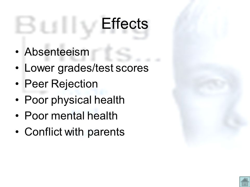 Effects Absenteeism Lower grades/test scores Peer Rejection Poor physical health Poor mental health Conflict with parents