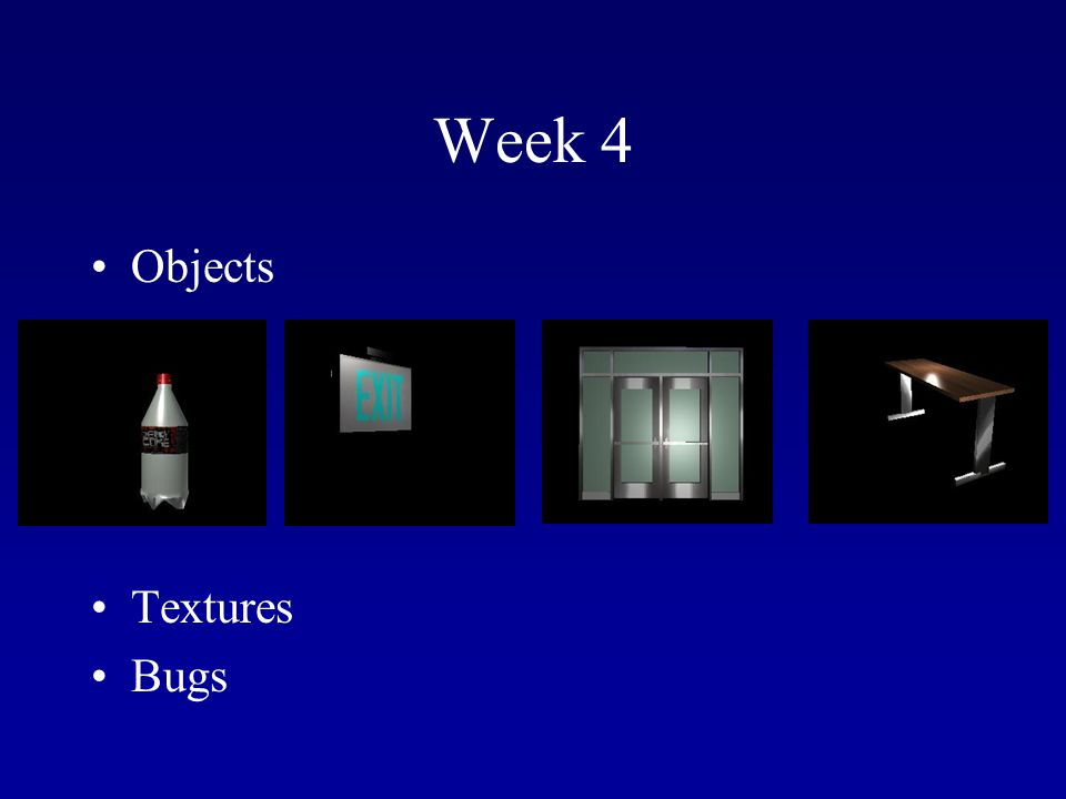 Week 4 Objects Textures Bugs