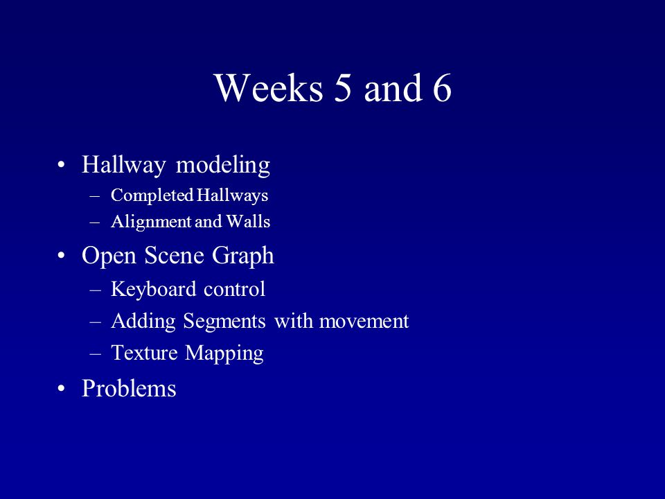 Weeks 5 and 6 Hallway modeling –Completed Hallways –Alignment and Walls Open Scene Graph –Keyboard control –Adding Segments with movement –Texture Mapping Problems