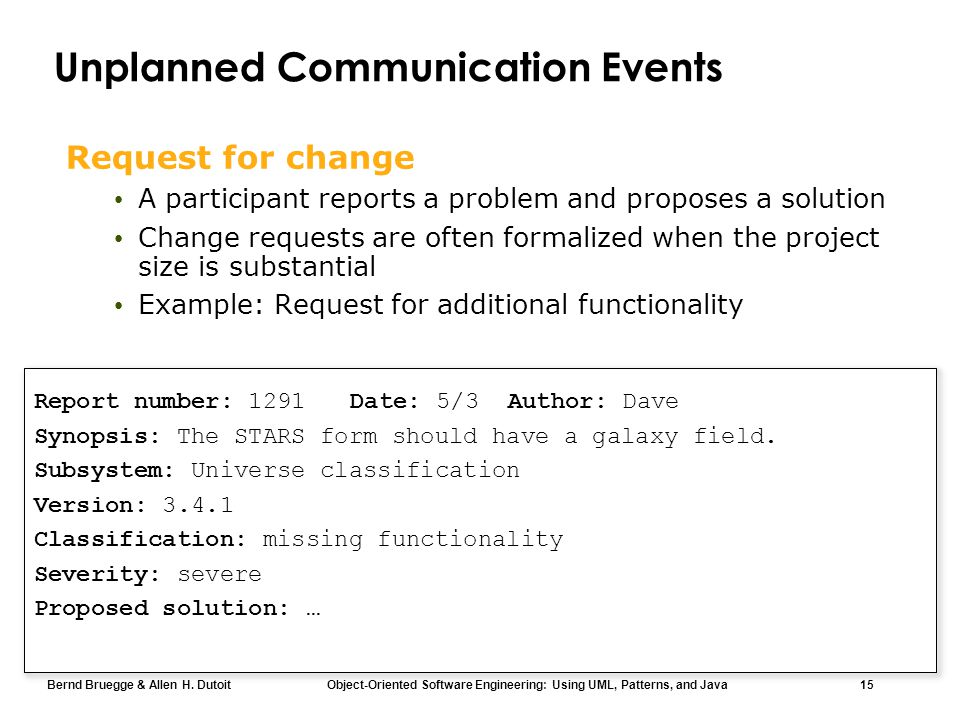 Bernd Bruegge & Allen H. Dutoit Object-Oriented Software Engineering: Using UML, Patterns, and Java 15 Unplanned Communication Events Request for chan