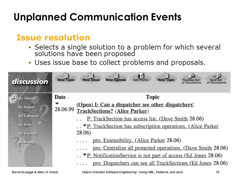 Bernd Bruegge & Allen H. Dutoit Object-Oriented Software Engineering: Using UML, Patterns, and Java 16 Unplanned Communication Events Issue resolution