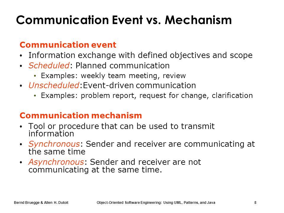 Bernd Bruegge & Allen H. Dutoit Object-Oriented Software Engineering: Using UML, Patterns, and Java 8 Communication Event vs. Mechanism Communication