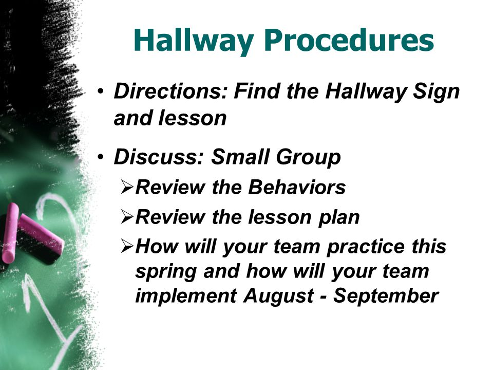 Hallway Procedures Directions: Find the Hallway Sign and lesson Discuss: Small Group  Review the Behaviors  Review the lesson plan  How will your team practice this spring and how will your team implement August - September