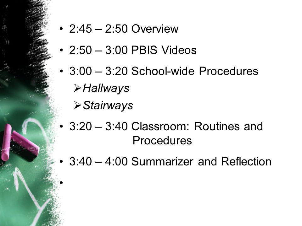 2:45 – 2:50 Overview 2:50 – 3:00 PBIS Videos 3:00 – 3:20 School-wide Procedures  Hallways  Stairways 3:20 – 3:40 Classroom: Routines and Procedures 3:40 – 4:00 Summarizer and Reflection