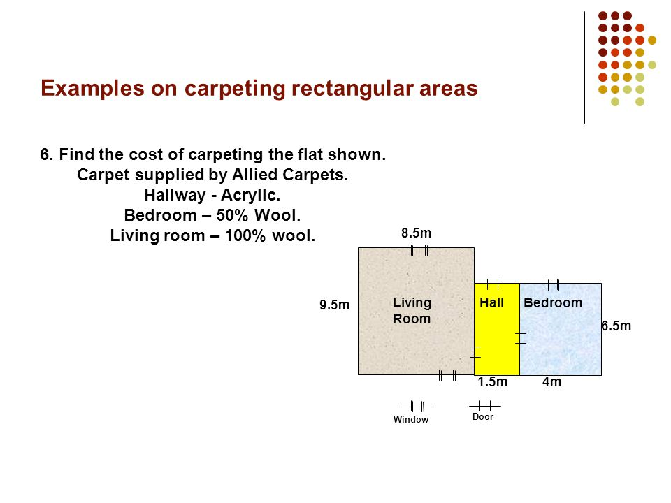 Examples on carpeting rectangular areas 5. Find the cost of carpeting the flat.