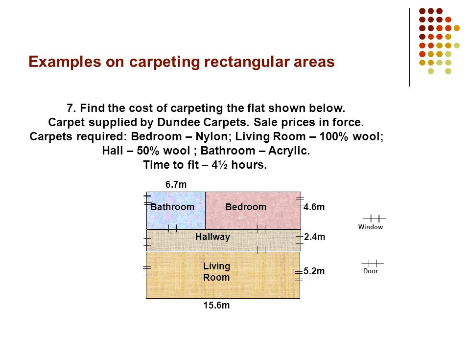Examples on carpeting rectangular areas 6. Find the cost of carpeting the flat shown.
