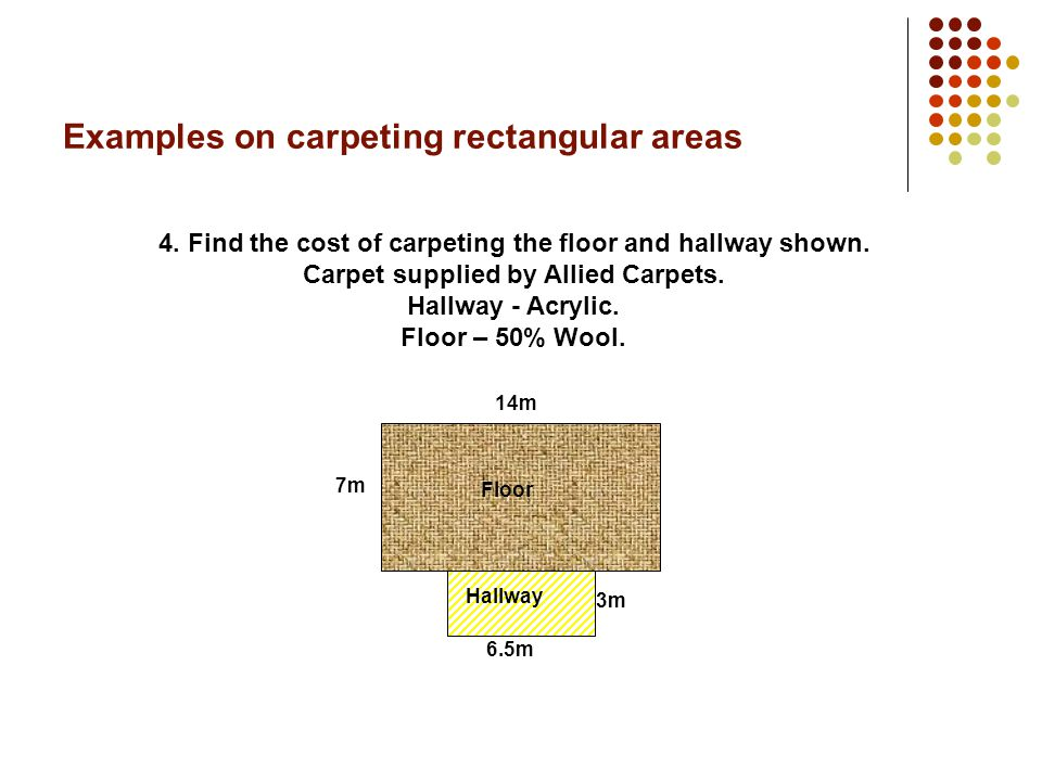 Examples on carpeting rectangular areas 3.Find the cost of carpeting the room shown.