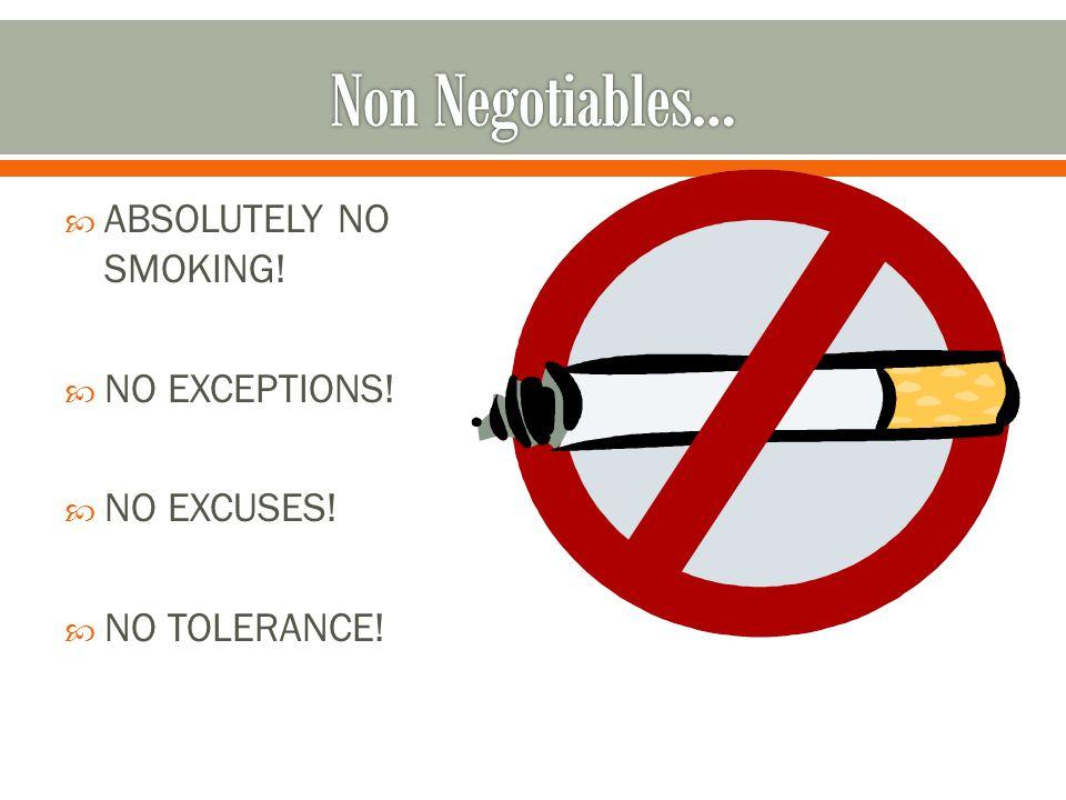  ABSOLUTELY NO SMOKING!  NO EXCEPTIONS!  NO EXCUSES!  NO TOLERANCE!