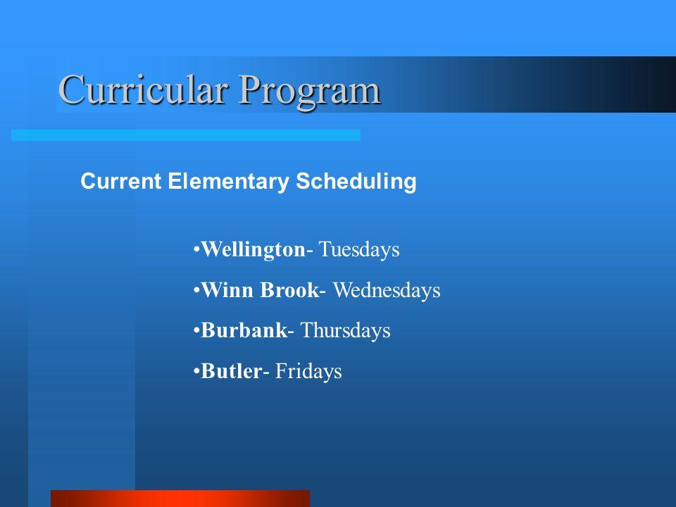 Curricular Program Current Elementary Scheduling Wellington- Tuesdays Winn Brook- Wednesdays Burbank- Thursdays Butler- Fridays
