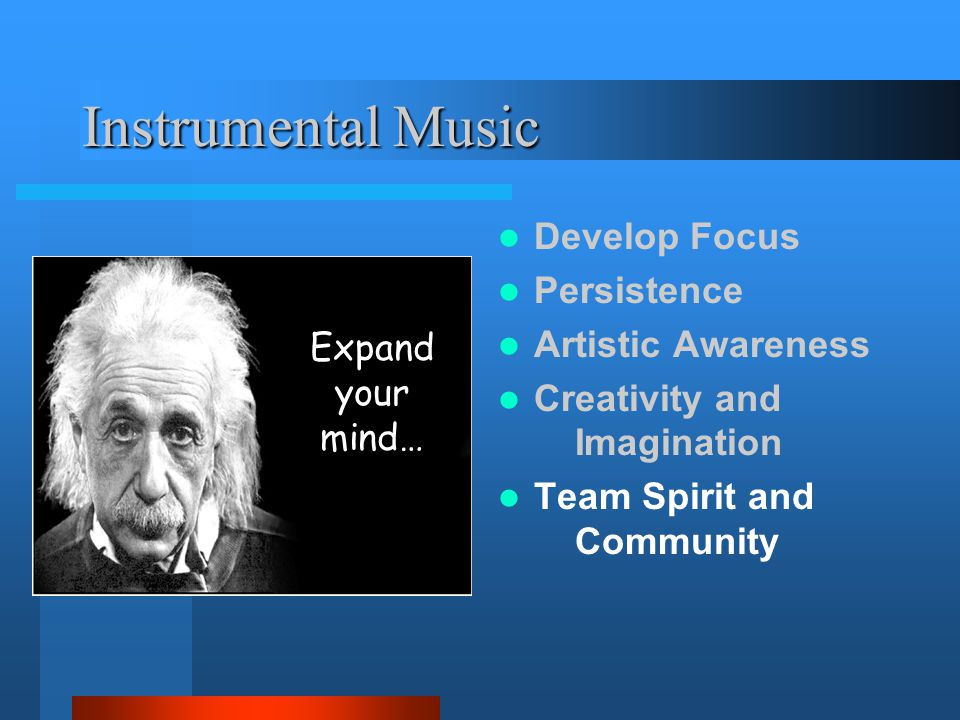 Instrumental Music Develop Focus Persistence Artistic Awareness Creativity and Imagination Team Spirit and Community Expand your mind…