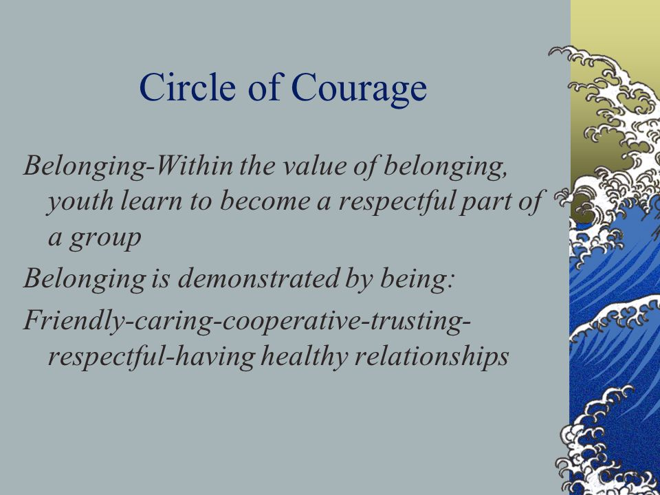 Circle of Courage Circle of Courage programs should embody a welcoming environment where dignity, respect, and kindness are the values we live by and demonstrate to others, both youth and staff, throughout all levels of the organization By establishing environments within our milieus that support these values, and provide a culture of support, this goal will be achieved