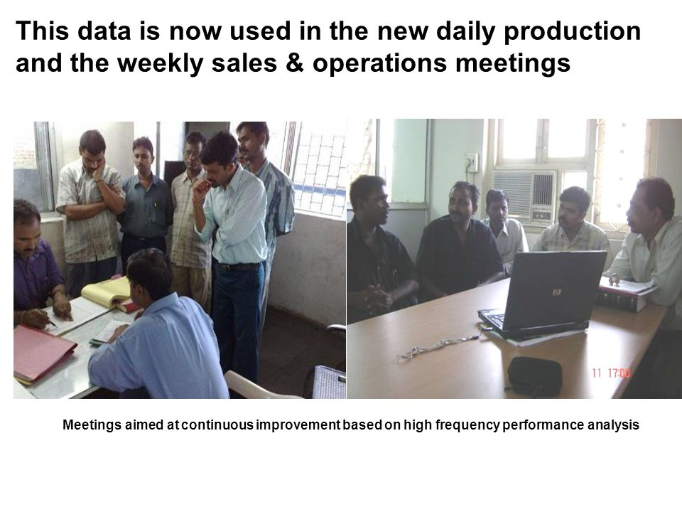 This data is now used in the new daily production and the weekly sales & operations meetings Meetings aimed at continuous improvement based on high frequency performance analysis