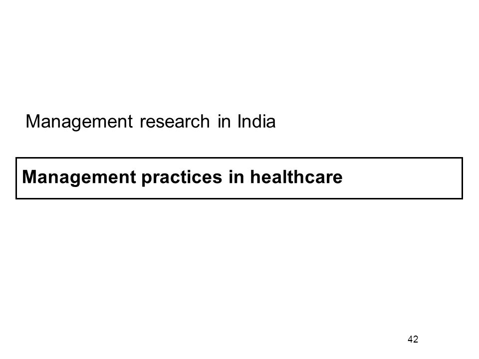 42 Management practices in healthcare Management research in India