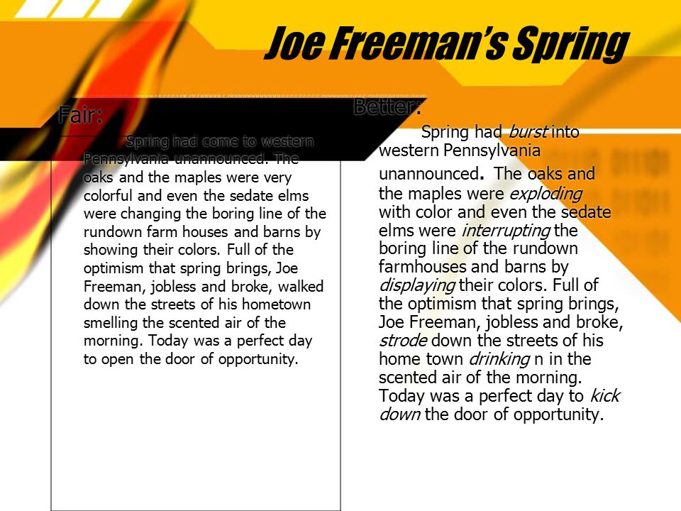 Joe Freeman's Spring Fair: Spring had come to western Pennsylvania unannounced. The oaks and the maples were very colorful and even the sedate elms we