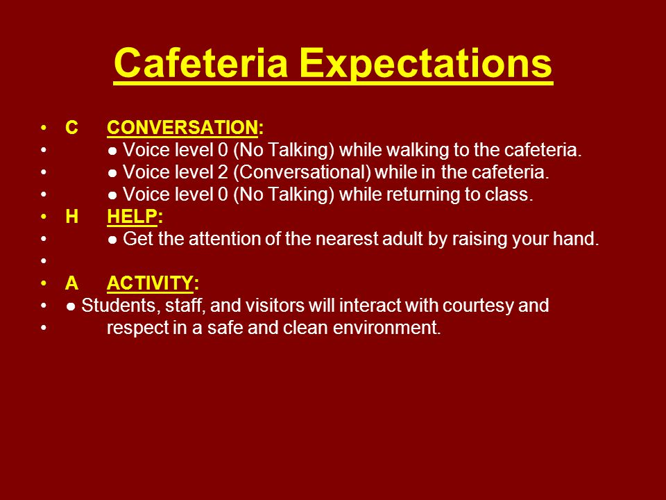 Cafeteria Expectations CCONVERSATION: ● Voice level 0 (No Talking) while walking to the cafeteria. ● Voice level 2 (Conversational) while in the cafet