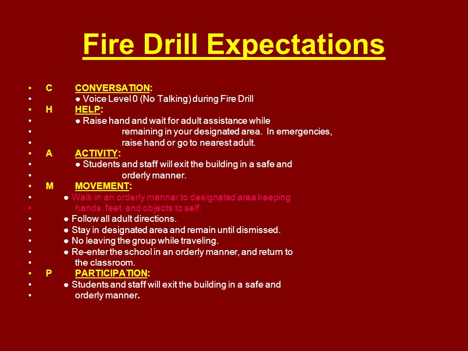 Fire Drill Expectations CCONVERSATION: ● Voice Level 0 (No Talking) during Fire Drill HHELP: ● Raise hand and wait for adult assistance while remainin