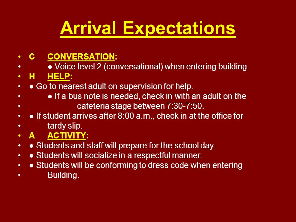 Arrival Expectations CCONVERSATION: ● Voice level 2 (conversational) when entering building. HHELP: ● Go to nearest adult on supervision for help. ● I
