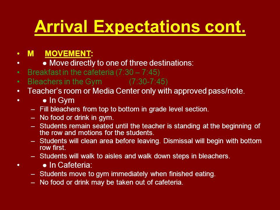 Dismissal Expectations CCONVERSATION: ● Voice Level 0 (No Talking) during announcements.