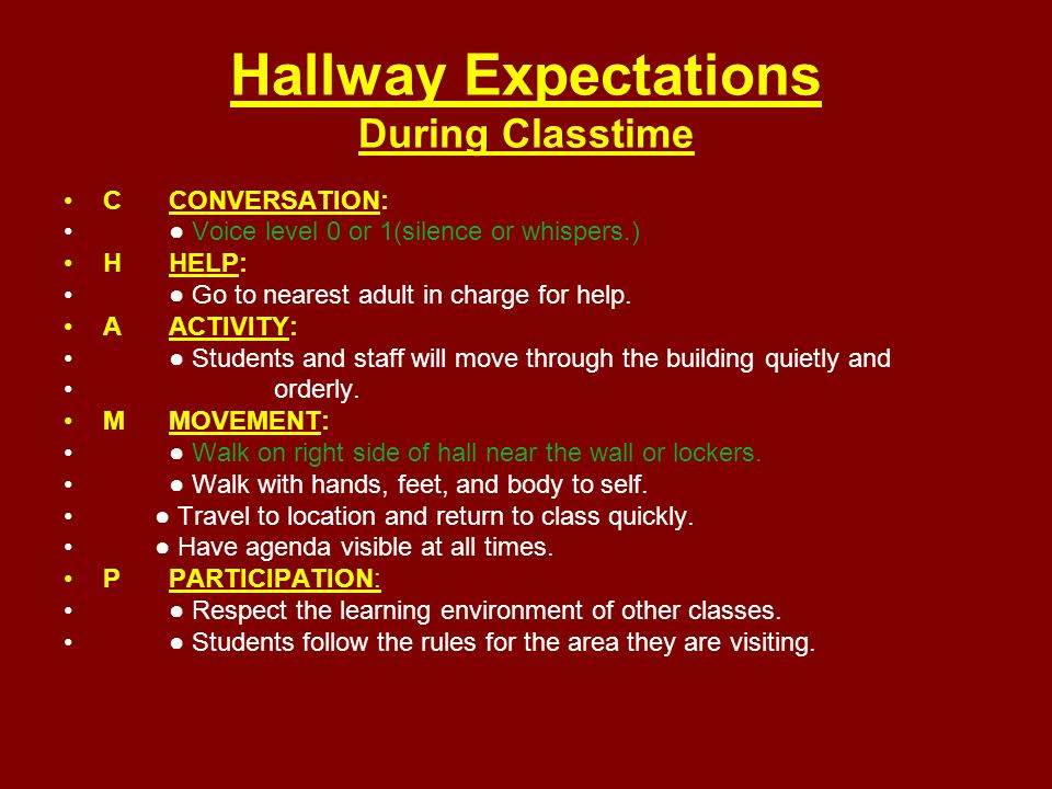 Hallway Expectations During Classtime CCONVERSATION: ● Voice level 0 or 1(silence or whispers.) HHELP: ● Go to nearest adult in charge for help.