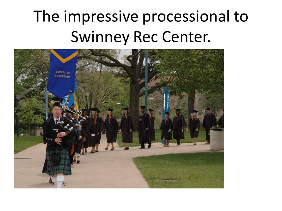 The impressive processional to Swinney Rec Center.