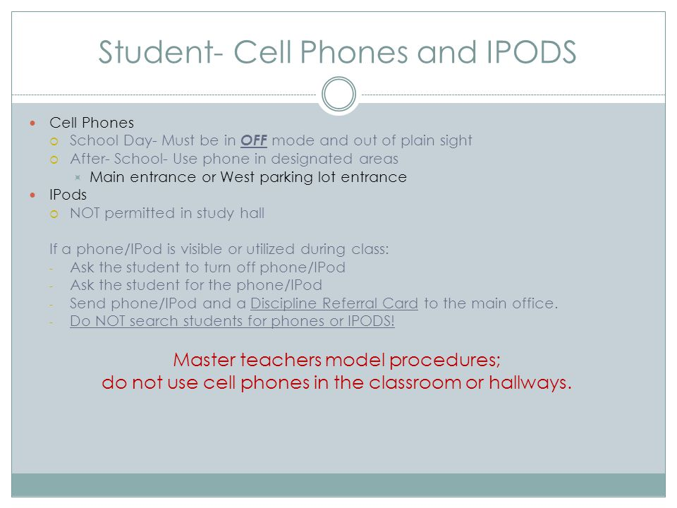 Student- Cell Phones and IPODS Cell Phones  School Day- Must be in OFF mode and out of plain sight  After- School- Use phone in designated areas  M