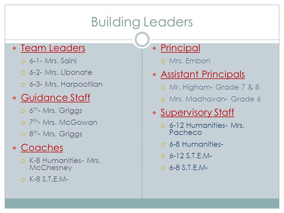 Building Leaders Team Leaders  6-1- Mrs. Saini  6-2- Mrs. Libonate  6-3- Mrs. Harpootlian Guidance Staff  6 th - Mrs. Griggs  7 th - Mrs. McGowan