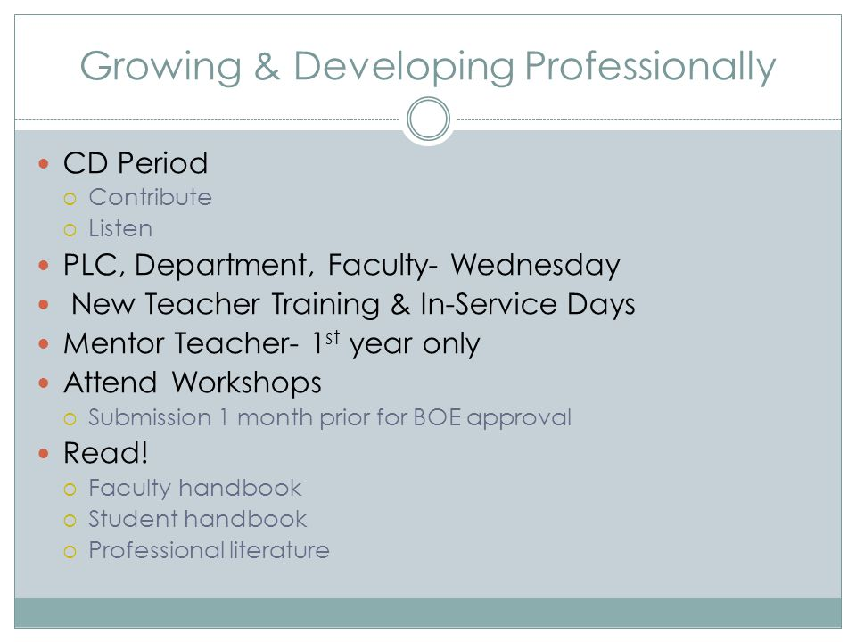 Growing & Developing Professionally CD Period  Contribute  Listen PLC, Department, Faculty- Wednesday New Teacher Training & In-Service Days Mentor