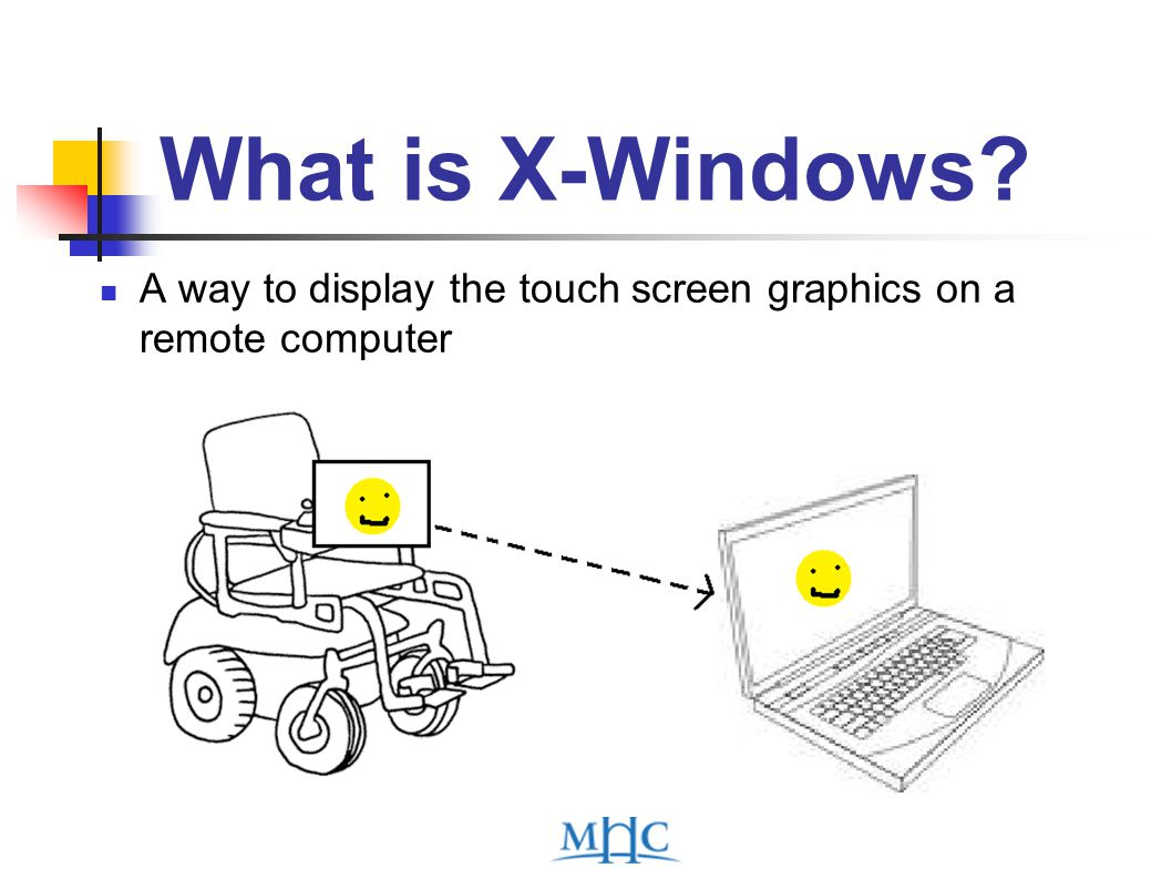 What is X-Windows A way to display the touch screen graphics on a remote computer