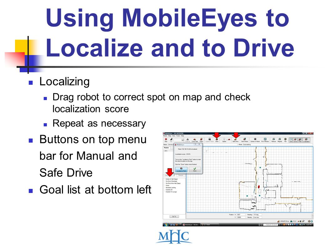 Using MobileEyes to Localize and to Drive Localizing Drag robot to correct spot on map and check localization score Repeat as necessary Buttons on top menu bar for Manual and Safe Drive Goal list at bottom left