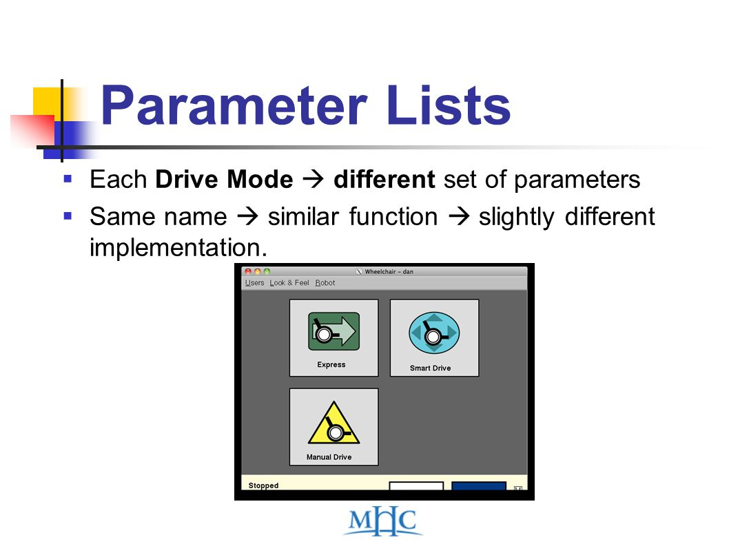 Parameter Lists  Each Drive Mode  different set of parameters  Same name  similar function  slightly different implementation.