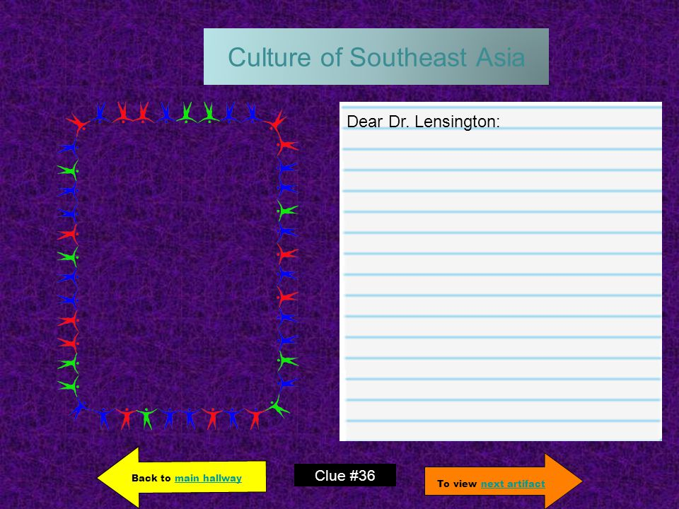 Culture of Southeast Asia Dear Dr.