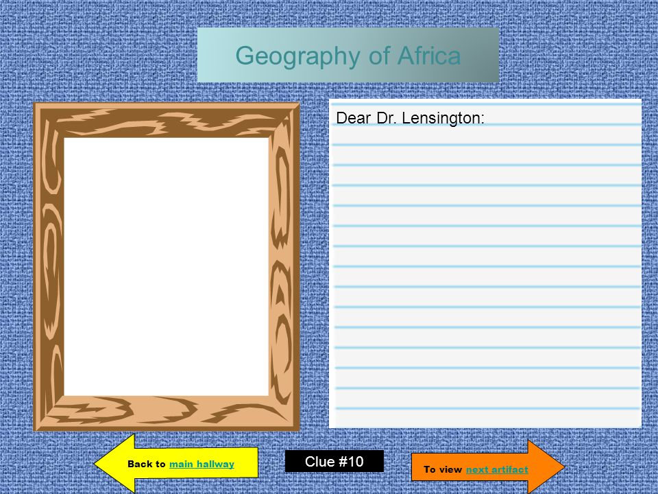 Geography of Africa Dear Dr.