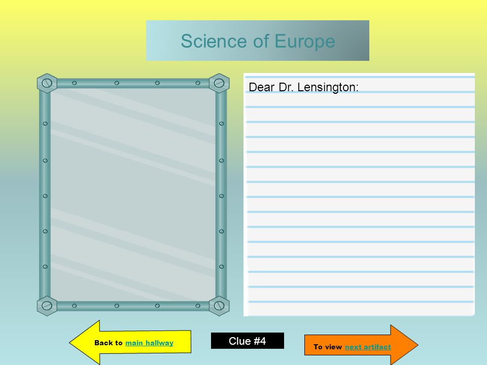 Science of Europe Dear Dr.