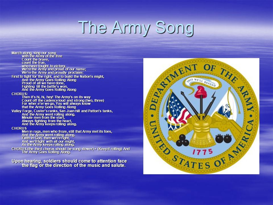 The Army Song March along, sing our song with the Army of the free Count the brave, count the true, who have fought to victory.