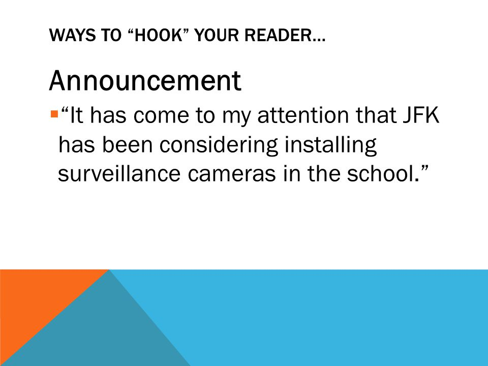 WAYS TO HOOK YOUR READER… Shocking Statement  It has been proved that 90% of school crimes go unsolved because of the lack of surveillance in the hallways.