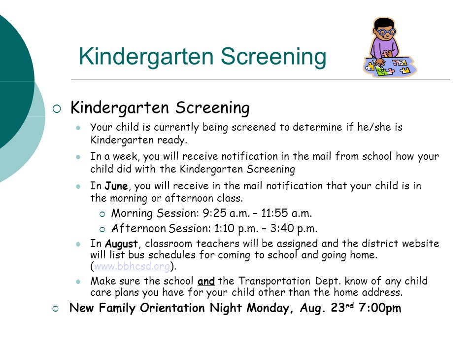 What happens at Kindergarten Screening.