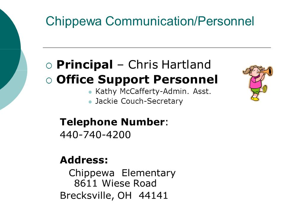 Chippewa Communication/Personnel  Principal – Chris Hartland  Office Support Personnel Kathy McCafferty-Admin. Asst. Jackie Couch-Secretary Telephon