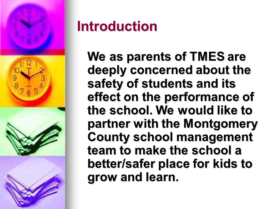 Introduction We as parents of TMES are deeply concerned about the safety of students and its effect on the performance of the school. We would like to
