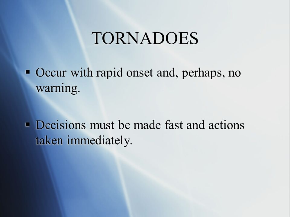 TORNADO DRILL PROCEDURES A Lesson That Can Save Lives