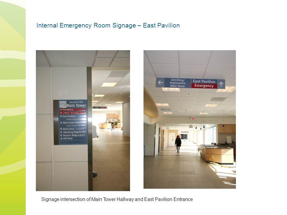 Internal Emergency Room Signage – East Pavilion Signage intersection of Main Tower Hallway and East Pavilion Entrance