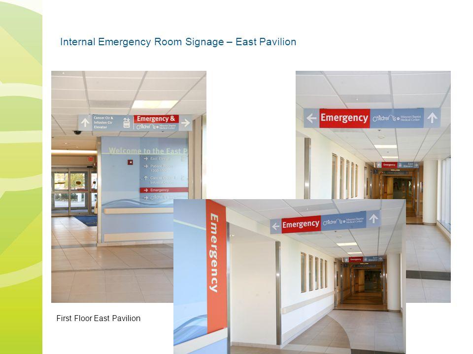 Internal Emergency Room Signage – East Pavilion First Floor East Pavilion