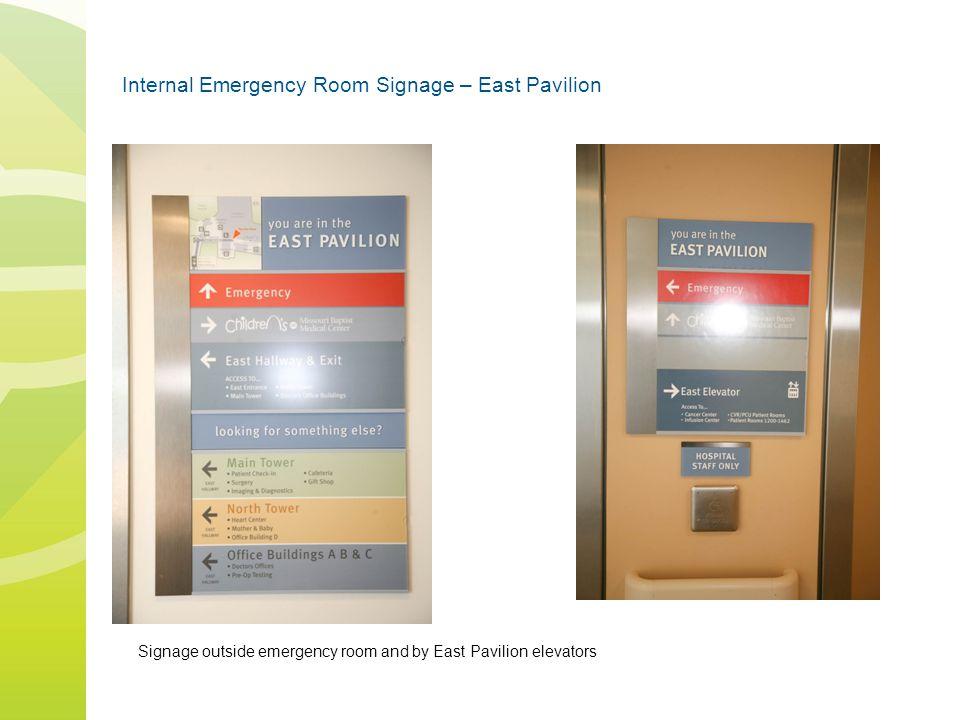 Internal Emergency Room Signage – East Pavilion Signage outside emergency room and by East Pavilion elevators