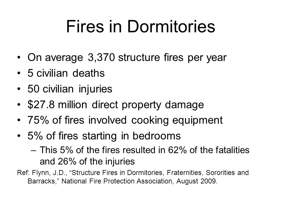 Fires in Dormitories On average 3,370 structure fires per year 5 civilian deaths 50 civilian injuries $27.8 million direct property damage 75% of fires involved cooking equipment 5% of fires starting in bedrooms –This 5% of the fires resulted in 62% of the fatalities and 26% of the injuries Ref: Flynn, J.D., Structure Fires in Dormitories, Fraternities, Sororities and Barracks, National Fire Protection Association, August 2009.