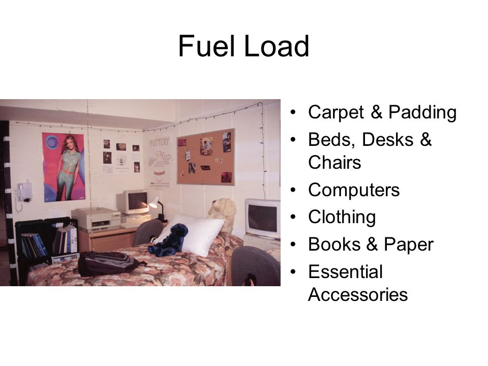 Fuel Load Total load per room approx. 1350 lbs Loading 8.1lbs/sq.ft. Plastics and Wood