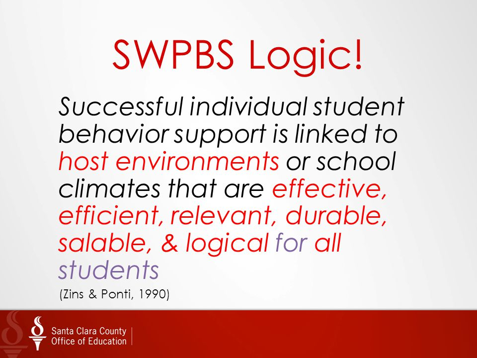 SWPBS Logic! Successful individual student behavior support is linked to host environments or school climates that are effective, efficient, relevant,
