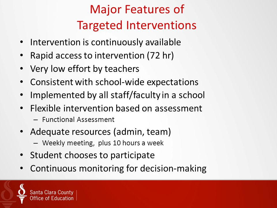 Intervention is continuously available Rapid access to intervention (72 hr) Very low effort by teachers Consistent with school-wide expectations Imple
